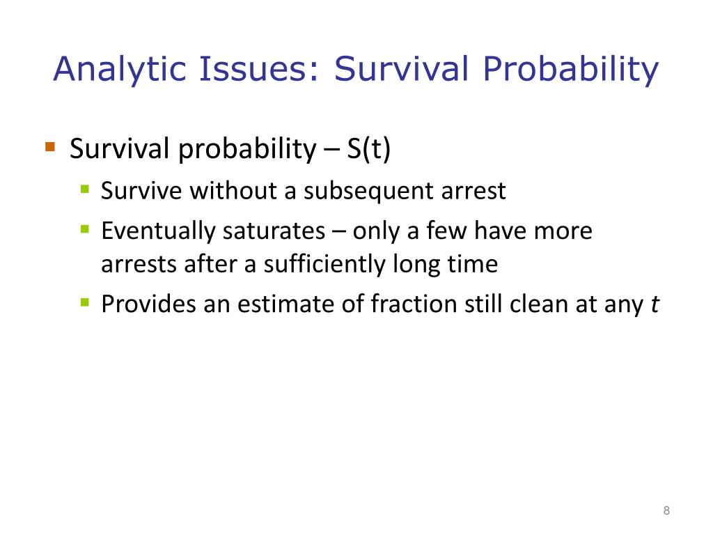 Analytic Issues: Survival Probability