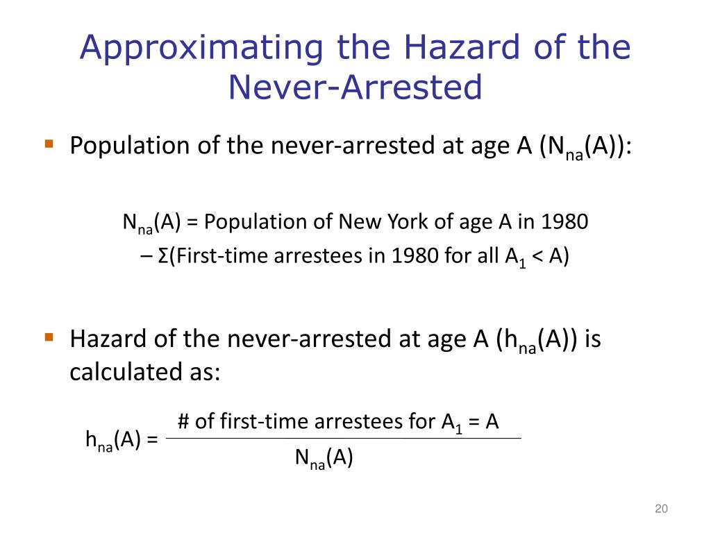 Approximating the Hazard of the Never-Arrested