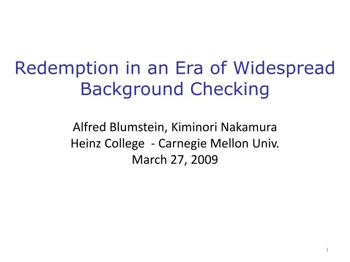 Redemption in an Era of Widespread Background Checking
