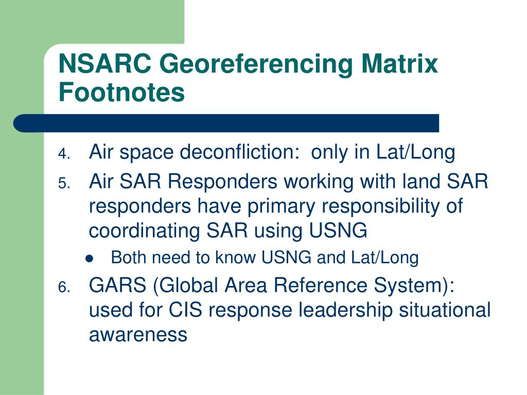 NSARC Georeferencing Matrix Footnotes