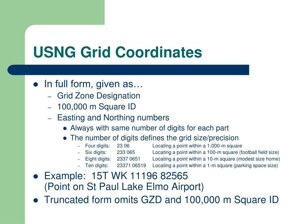 USNG Grid Coordinates