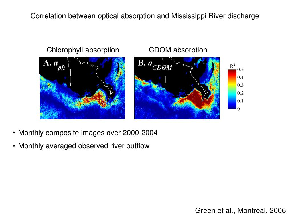 Correlation between optical absorption and Mississippi River discharge