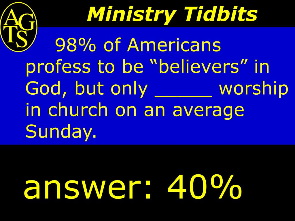 """98% of Americans profess to be """"believers"""" in God, but only _____ worship in church on an average Sunday."""