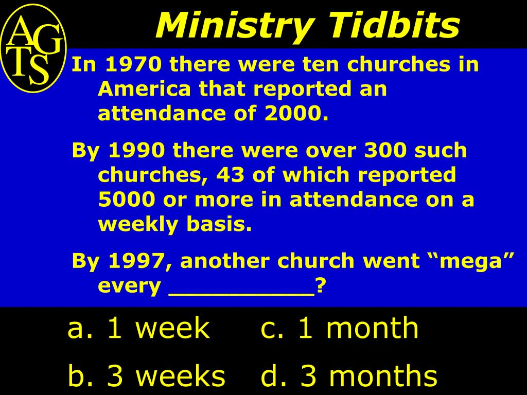 In 1970 there were ten churches in America that reported an attendance of 2000.