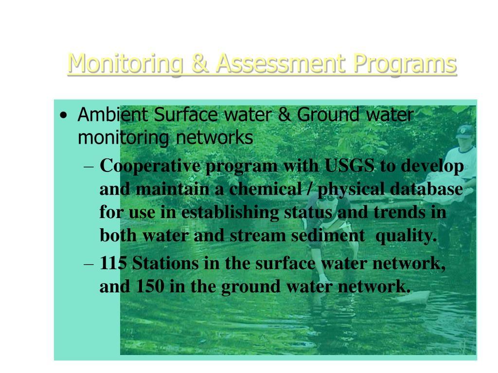 Monitoring & Assessment Programs