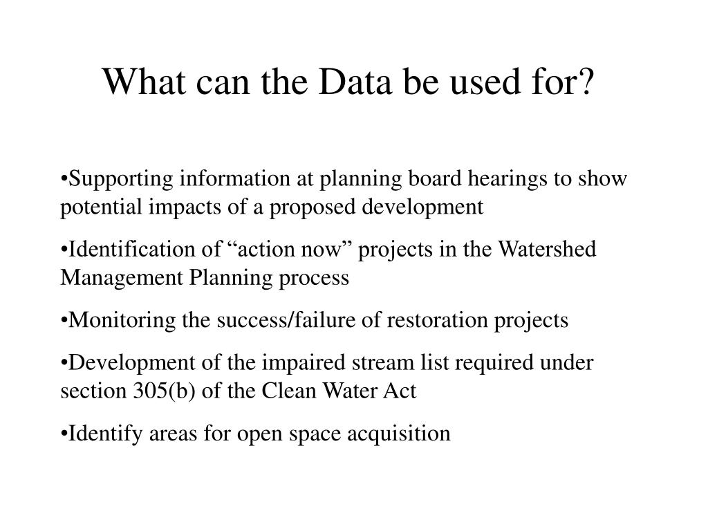 What can the Data be used for?