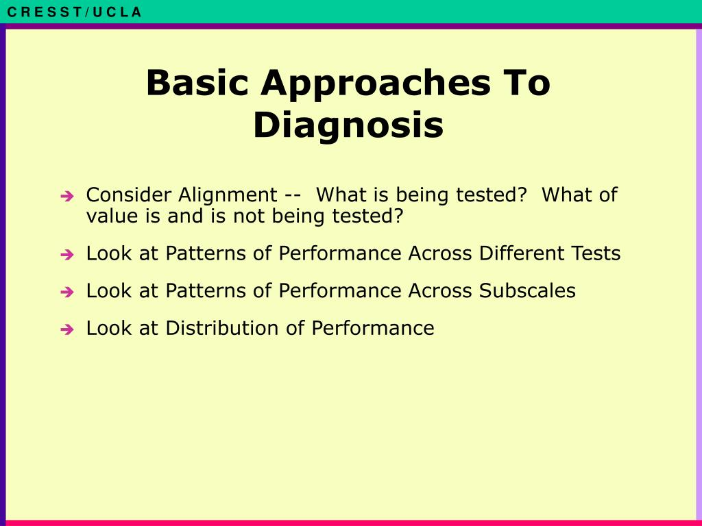 Basic Approaches To Diagnosis
