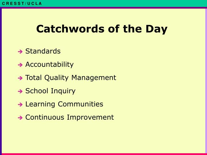 Catchwords of the day