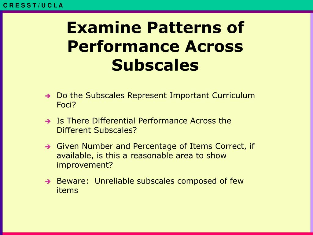 Examine Patterns of Performance Across Subscales