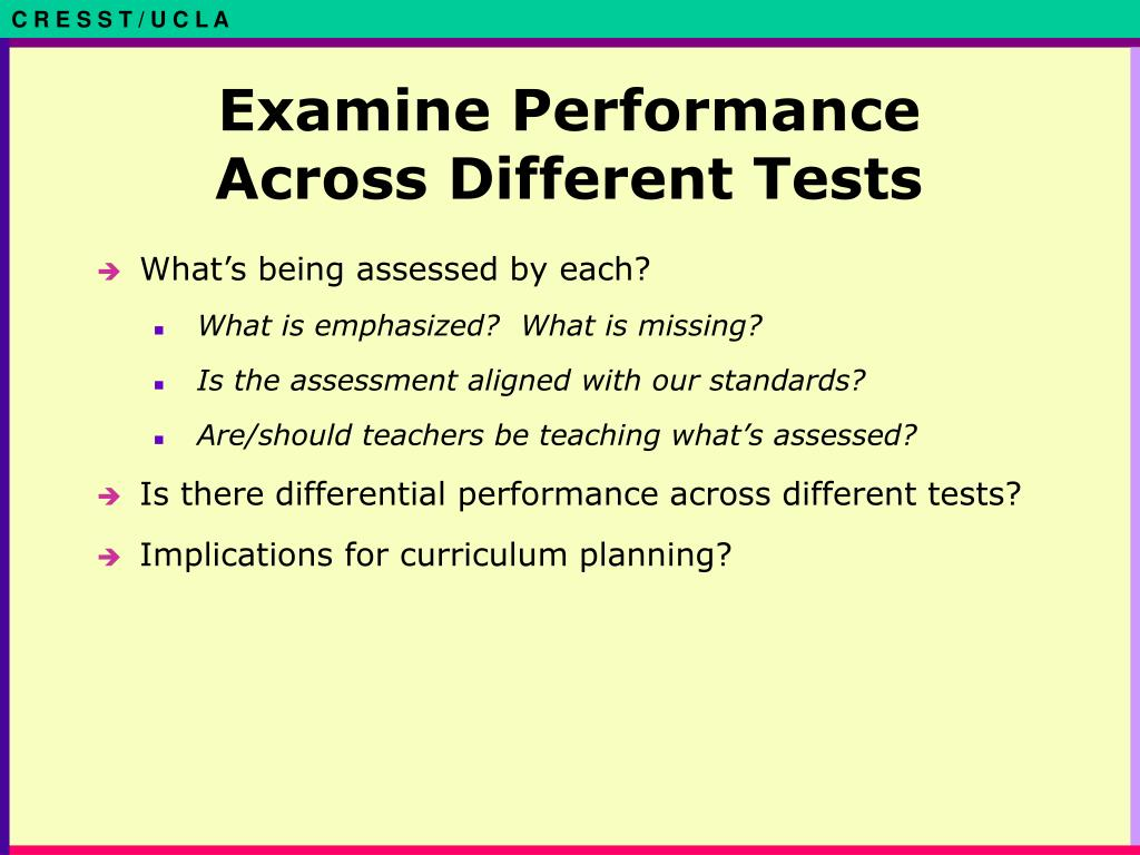 Examine Performance Across Different Tests