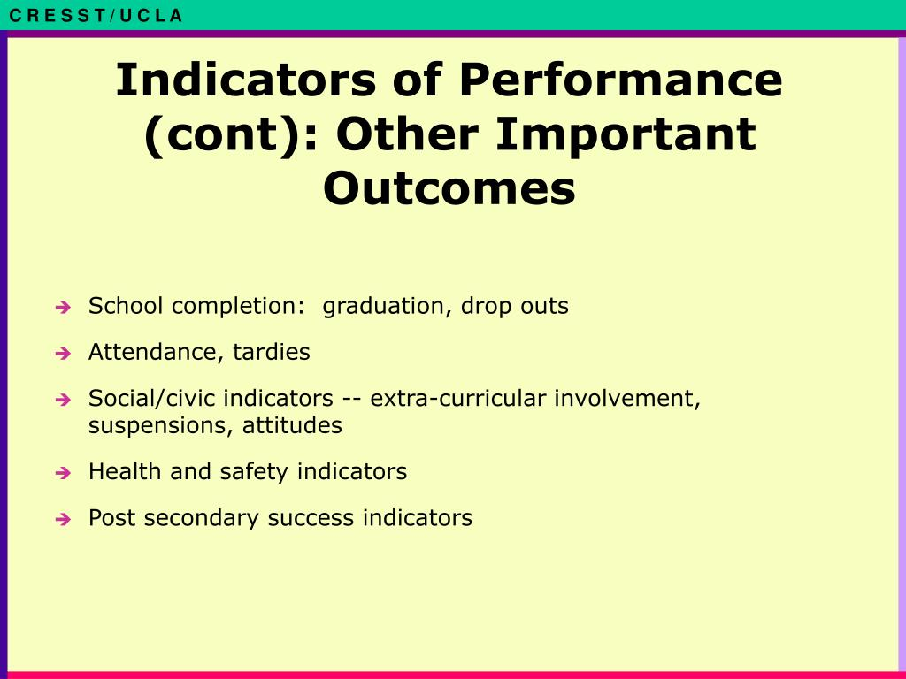 Indicators of Performance (cont): Other Important Outcomes