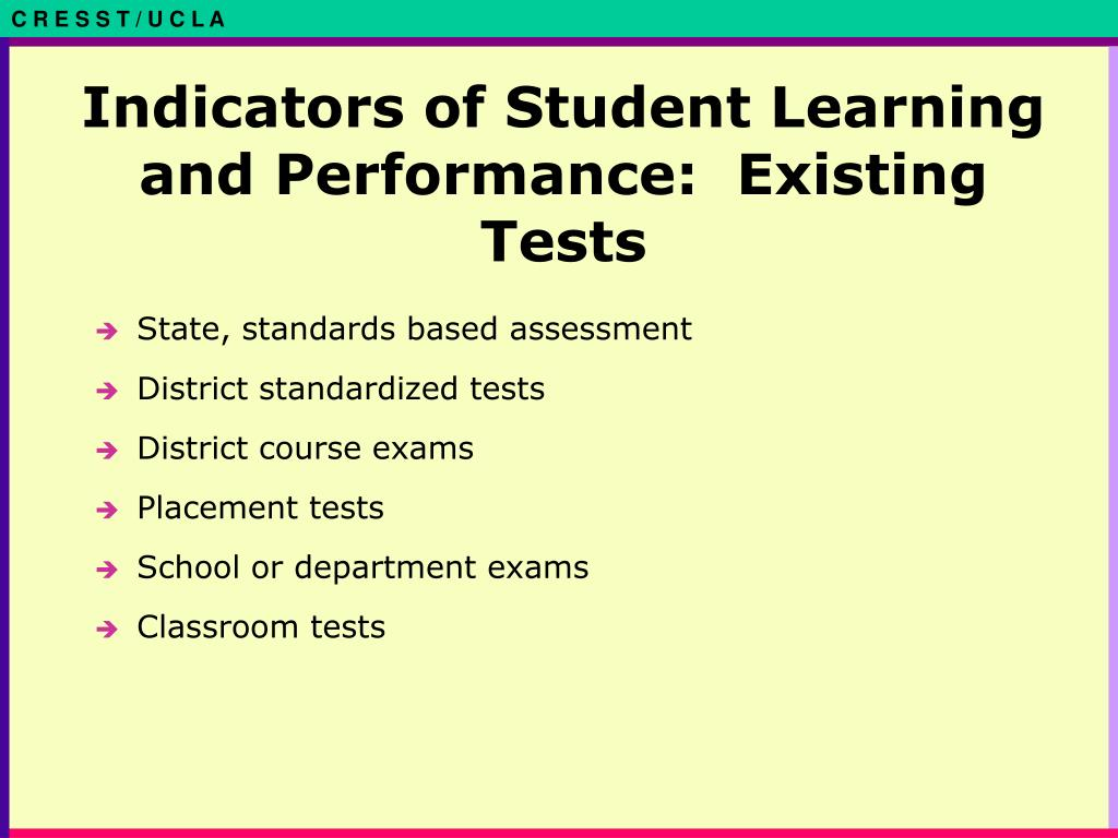 Indicators of Student Learning and Performance:  Existing Tests