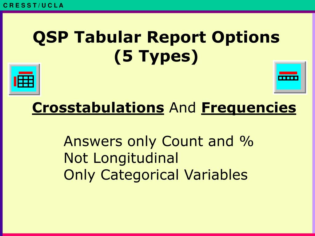 QSP Tabular Report Options (5 Types)
