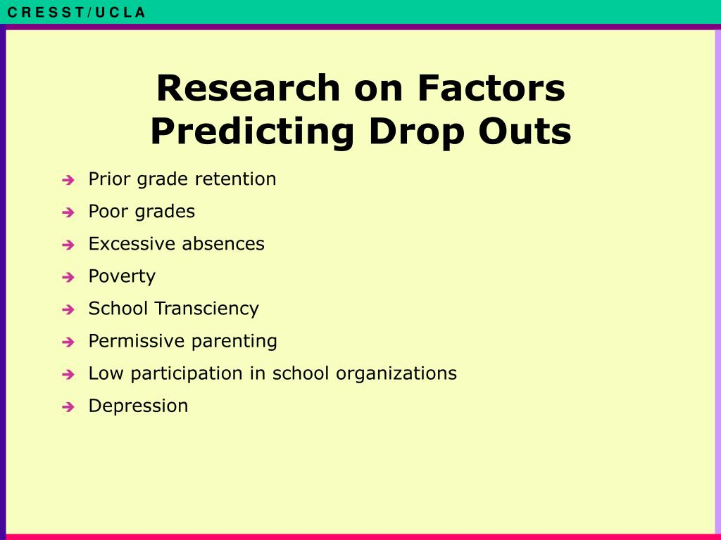 Research on Factors Predicting Drop Outs