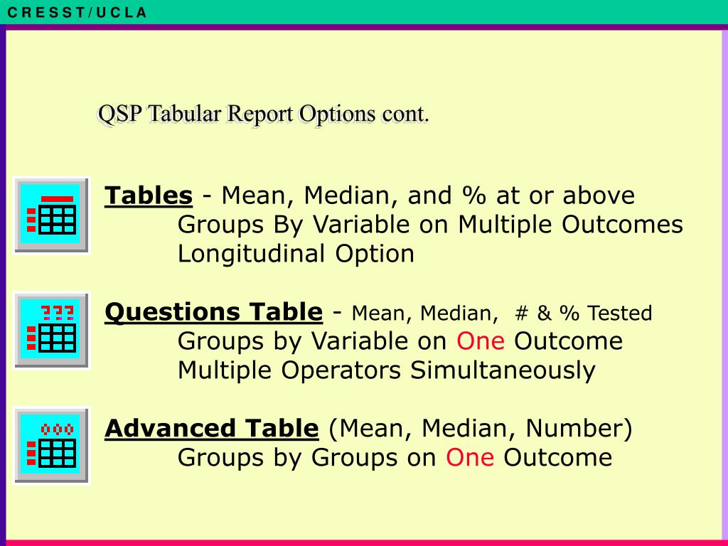 QSP Tabular Report Options cont.