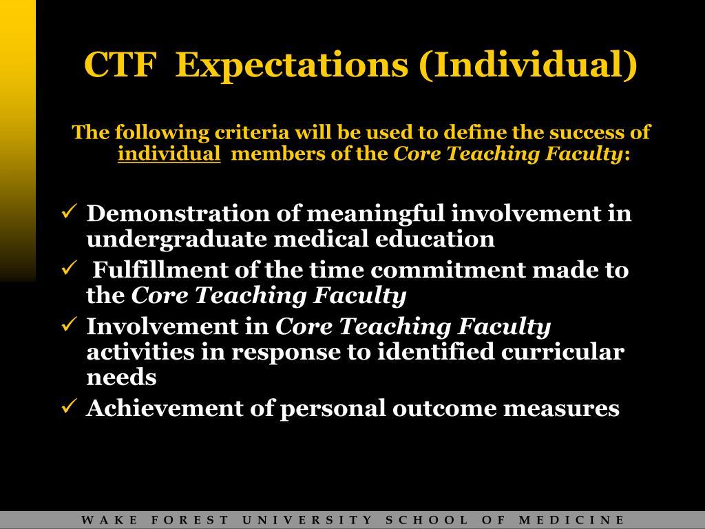 CTF  Expectations (Individual)