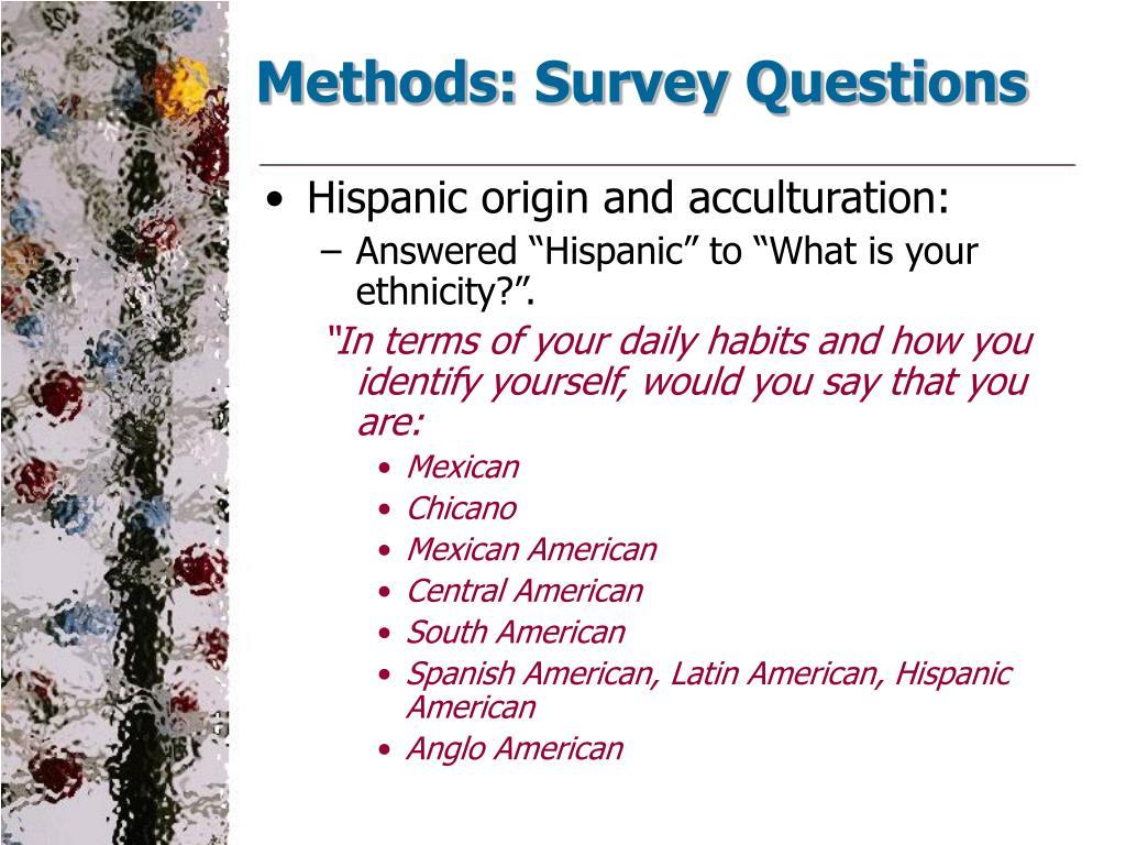 Methods: Survey Questions