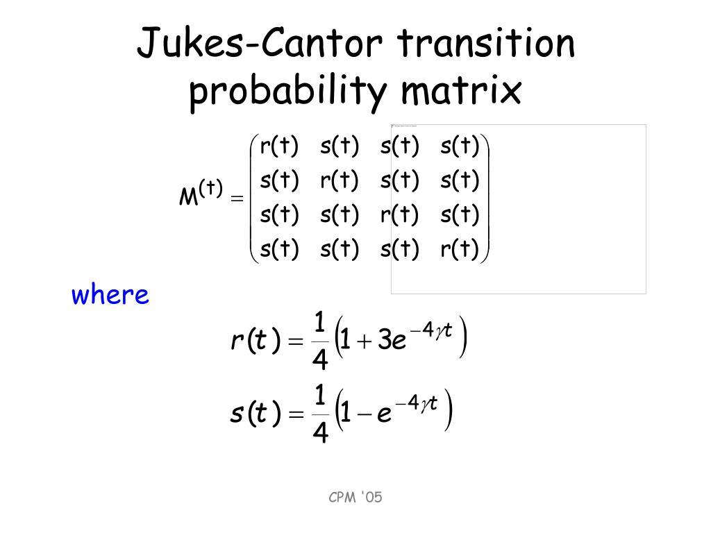 Jukes-Cantor transition probability matrix