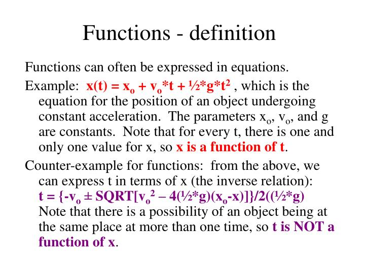 Functions definition