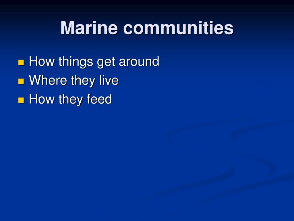 Marine communities