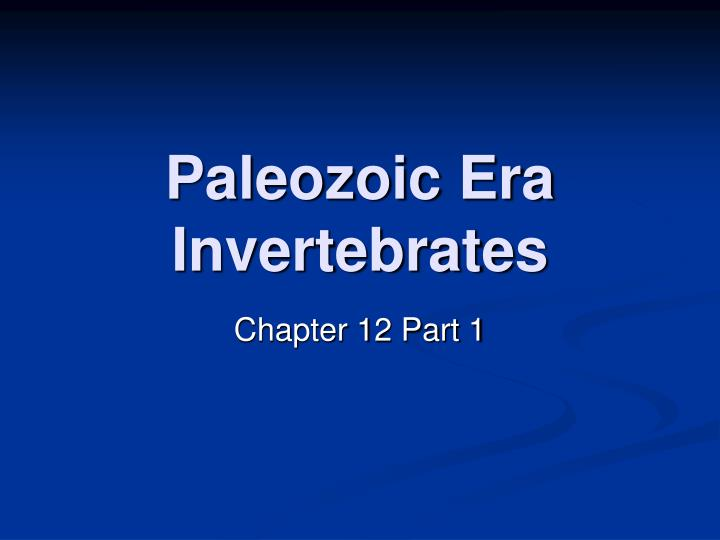 Paleozoic era invertebrates