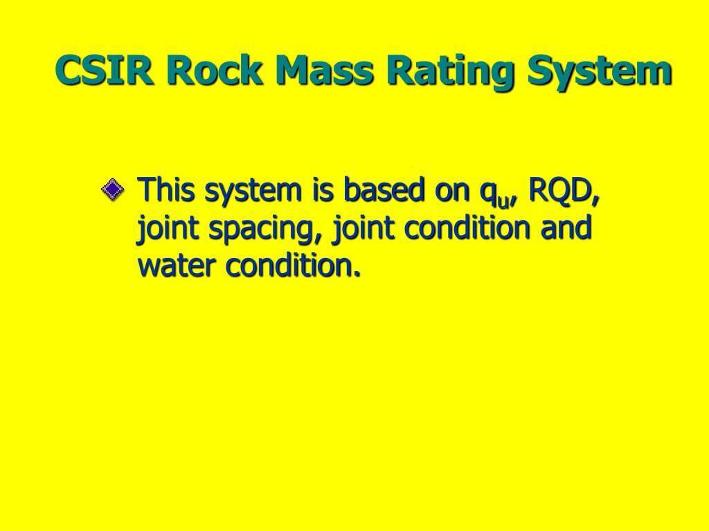 CSIR Rock Mass Rating System
