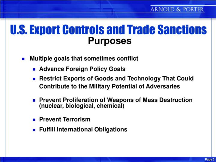 U s export controls and trade sanctions purposes