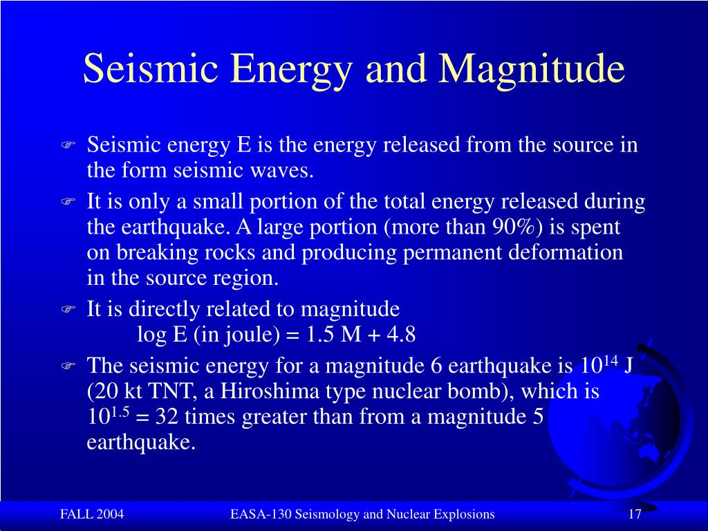 Seismic Energy and Magnitude