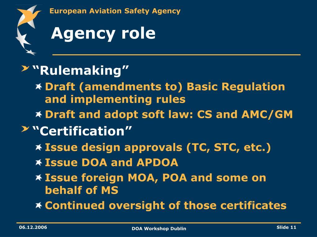 Agency role