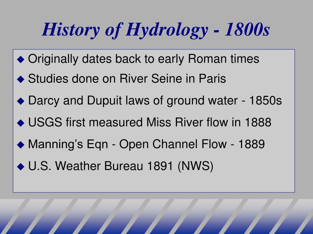 History of Hydrology - 1800s