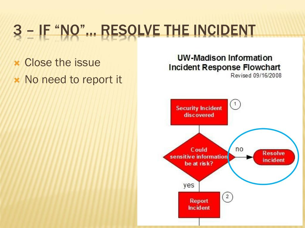 "3 – IF ""no""… resolve the incident"