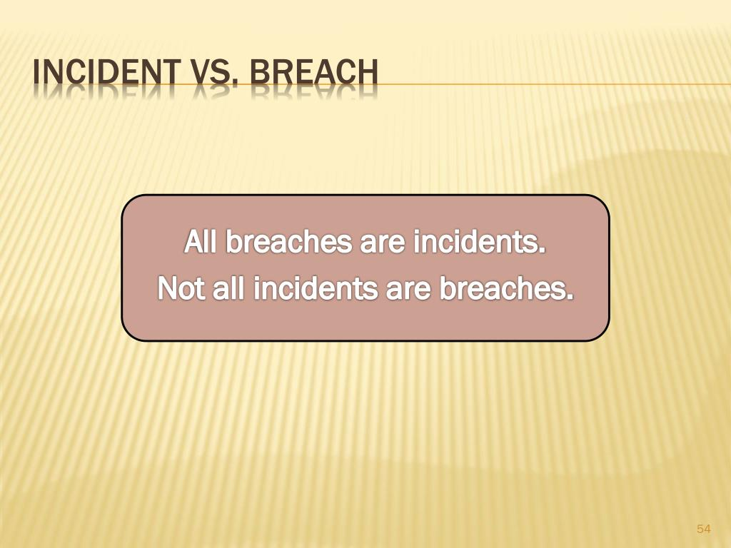 All breaches are incidents.
