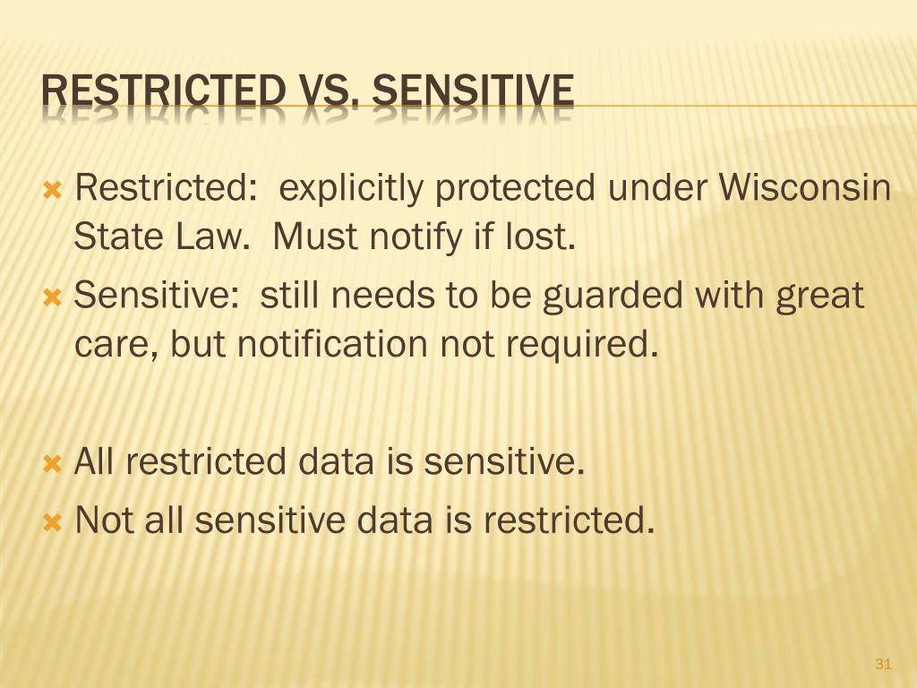 Restricted:  explicitly protected under Wisconsin State Law.  Must notify if lost.
