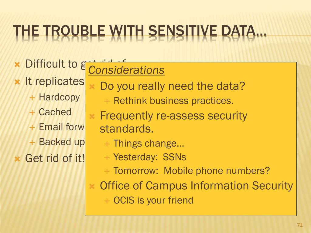 The trouble with sensitive data…