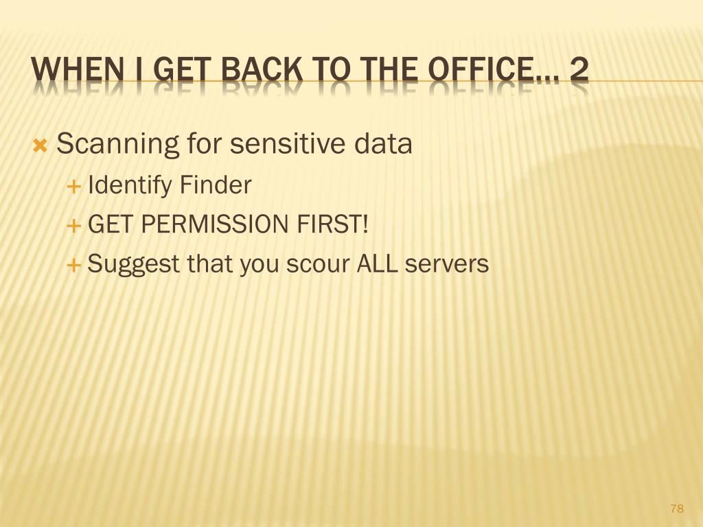 Scanning for sensitive data
