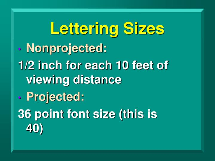 Lettering Sizes