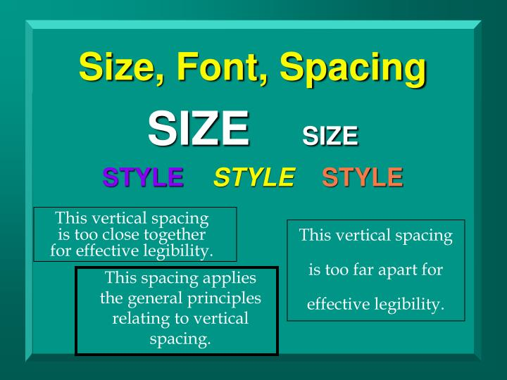 Size, Font, Spacing