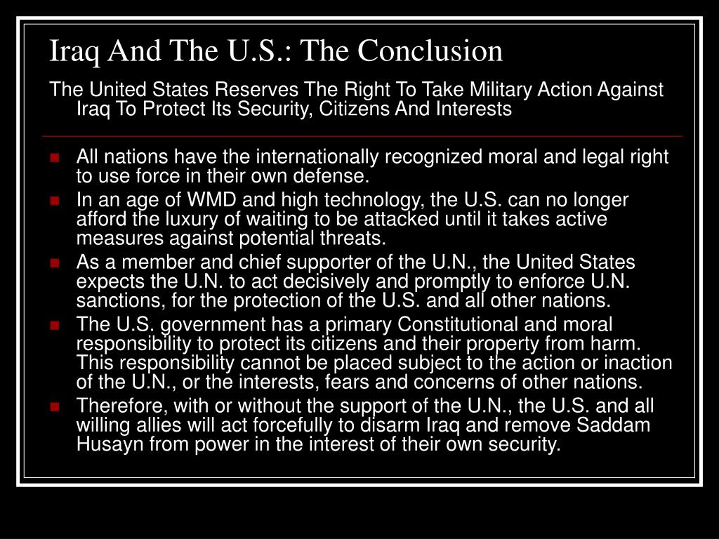 Iraq And The U.S.: The Conclusion