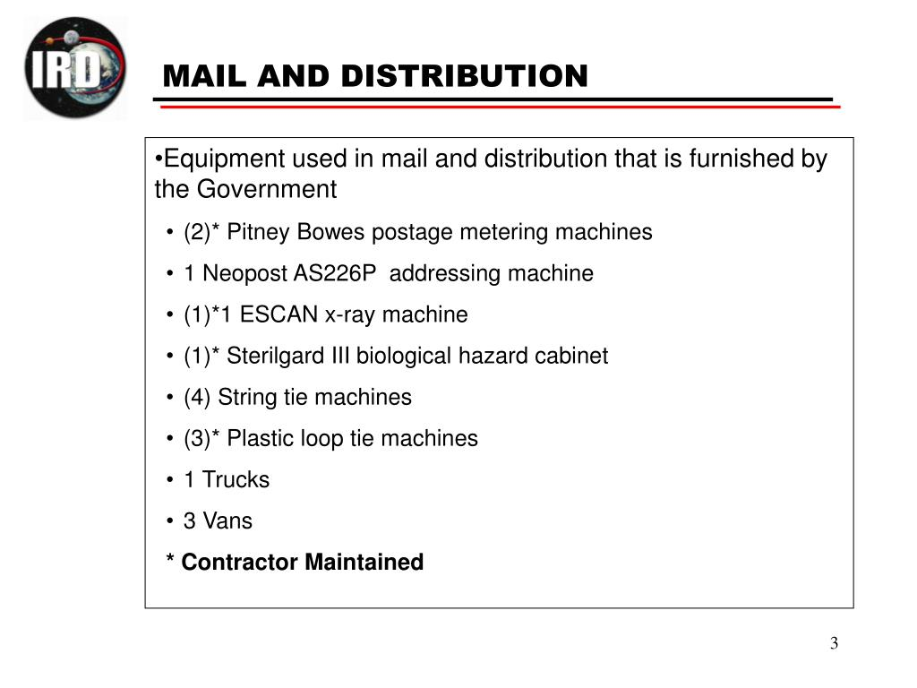 Equipment used in mail and distribution that is furnished by the Government