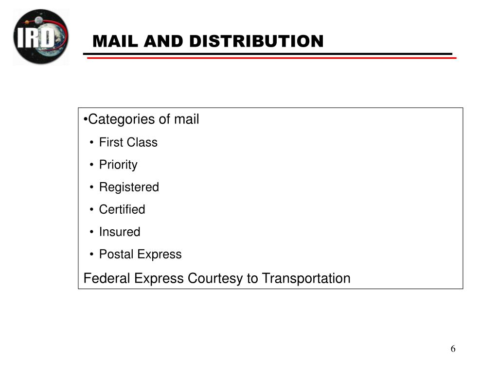 Categories of mail