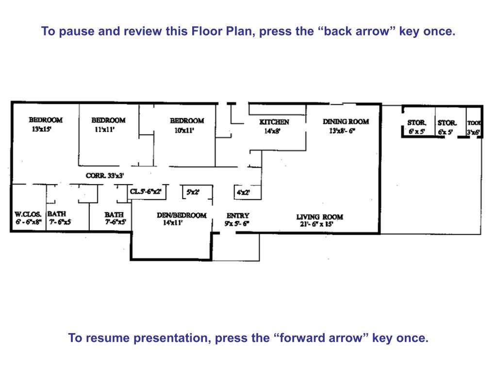 "To pause and review this Floor Plan, press the ""back arrow"" key once."