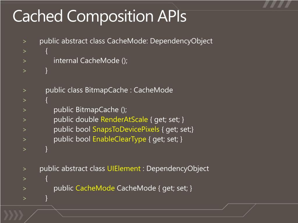 Cached Composition APIs