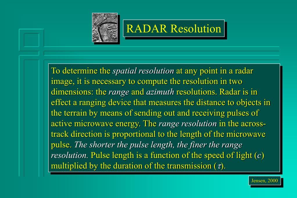 RADAR Resolution