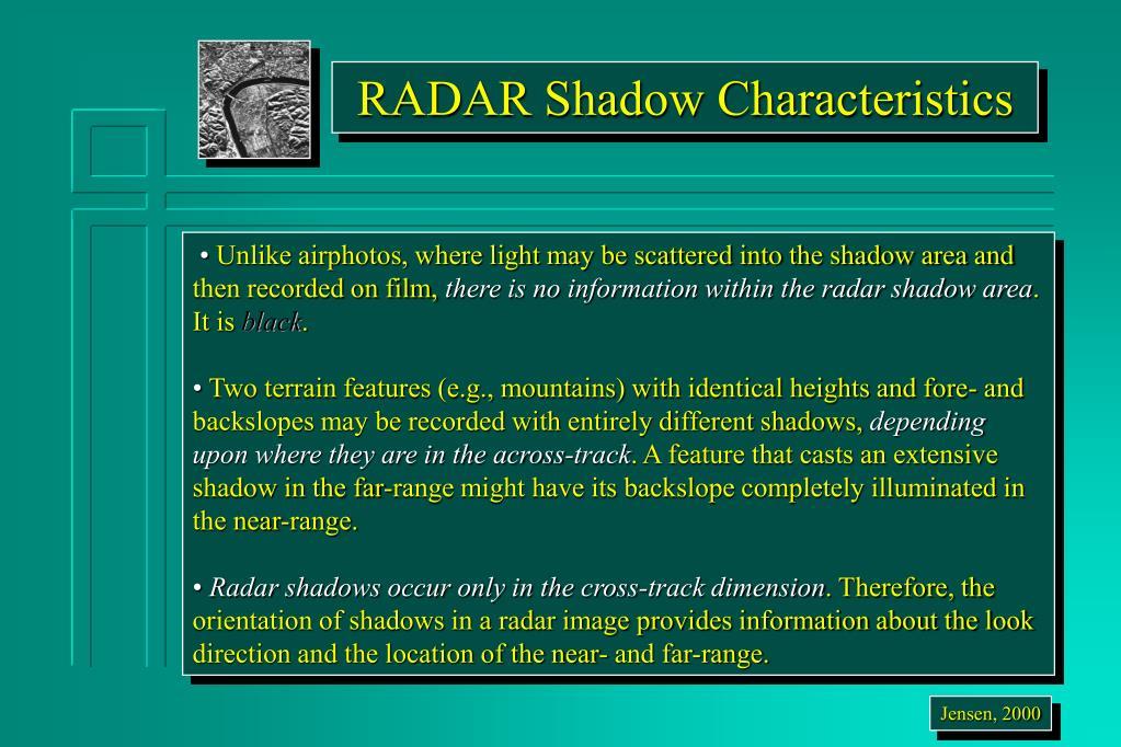 RADAR Shadow Characteristics