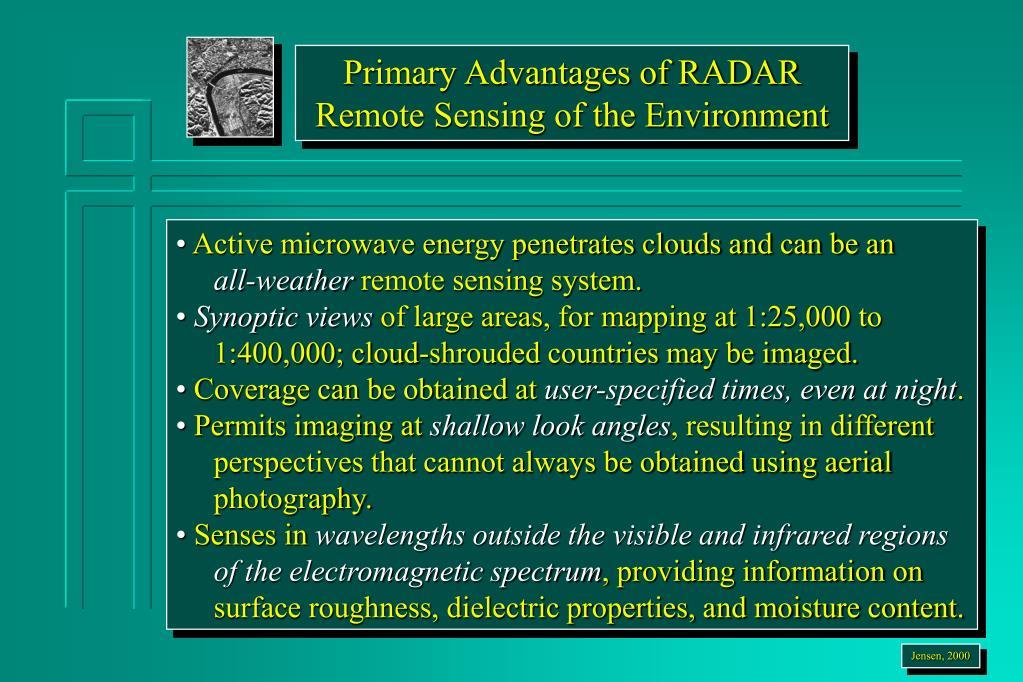 Primary Advantages of RADAR