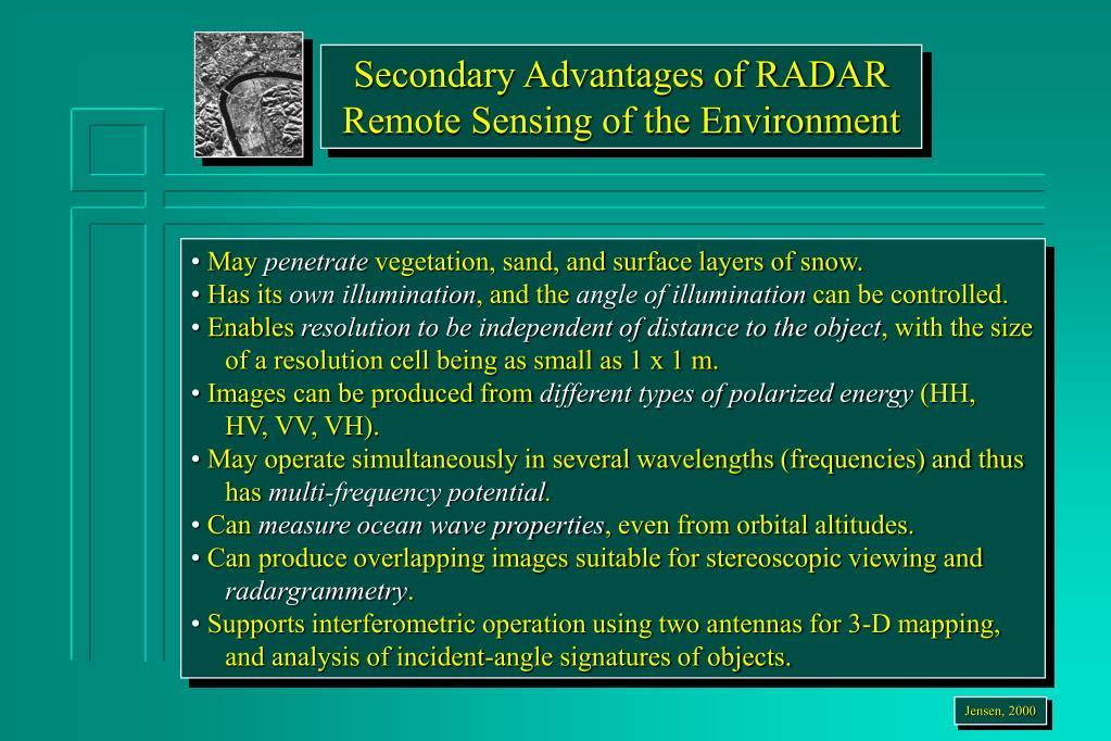 Secondary Advantages of RADAR