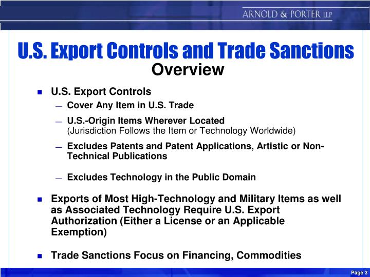 U s export controls and trade sanctions overview