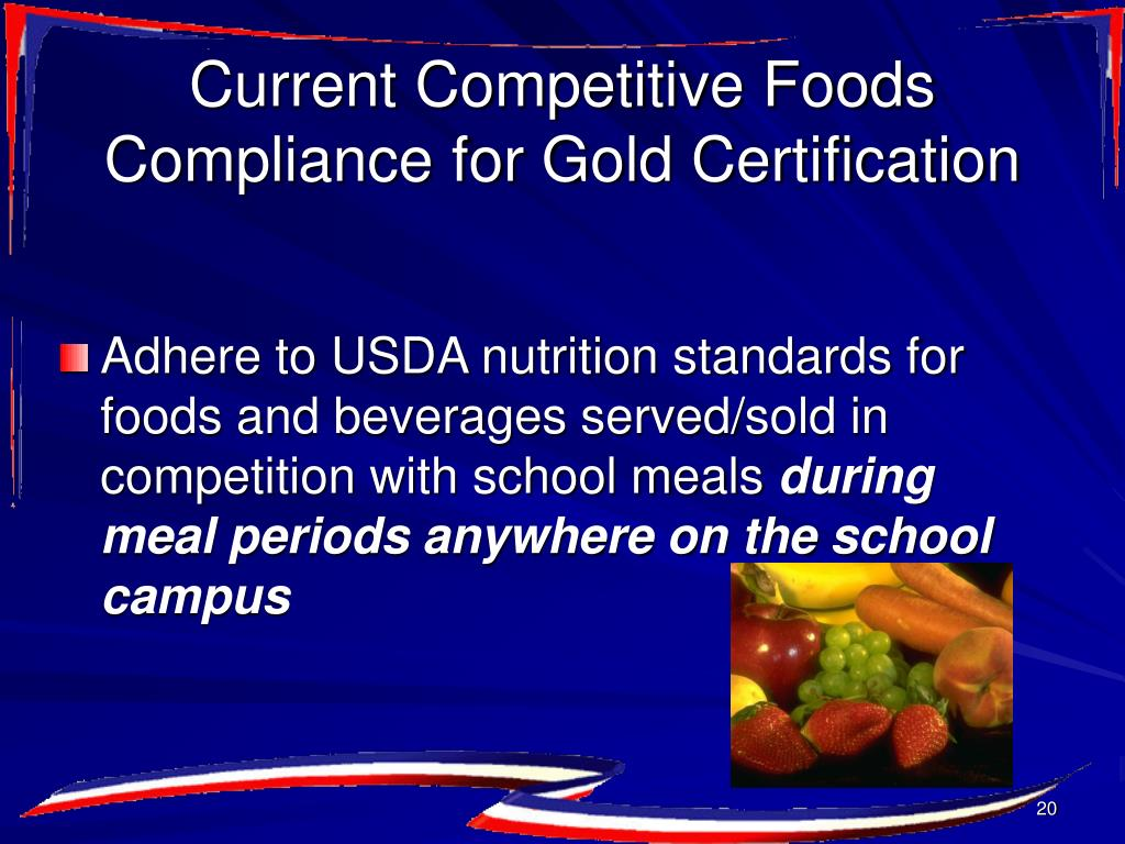 Current Competitive Foods Compliance for Gold Certification