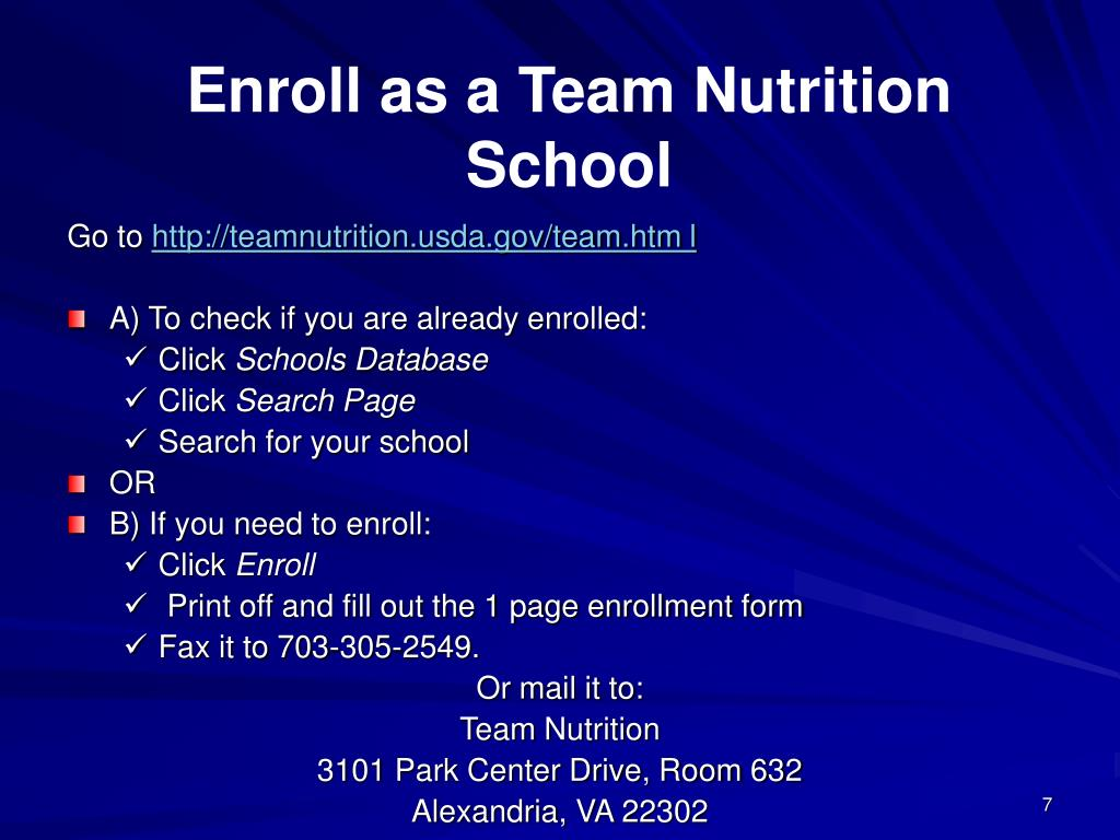 Enroll as a Team Nutrition School