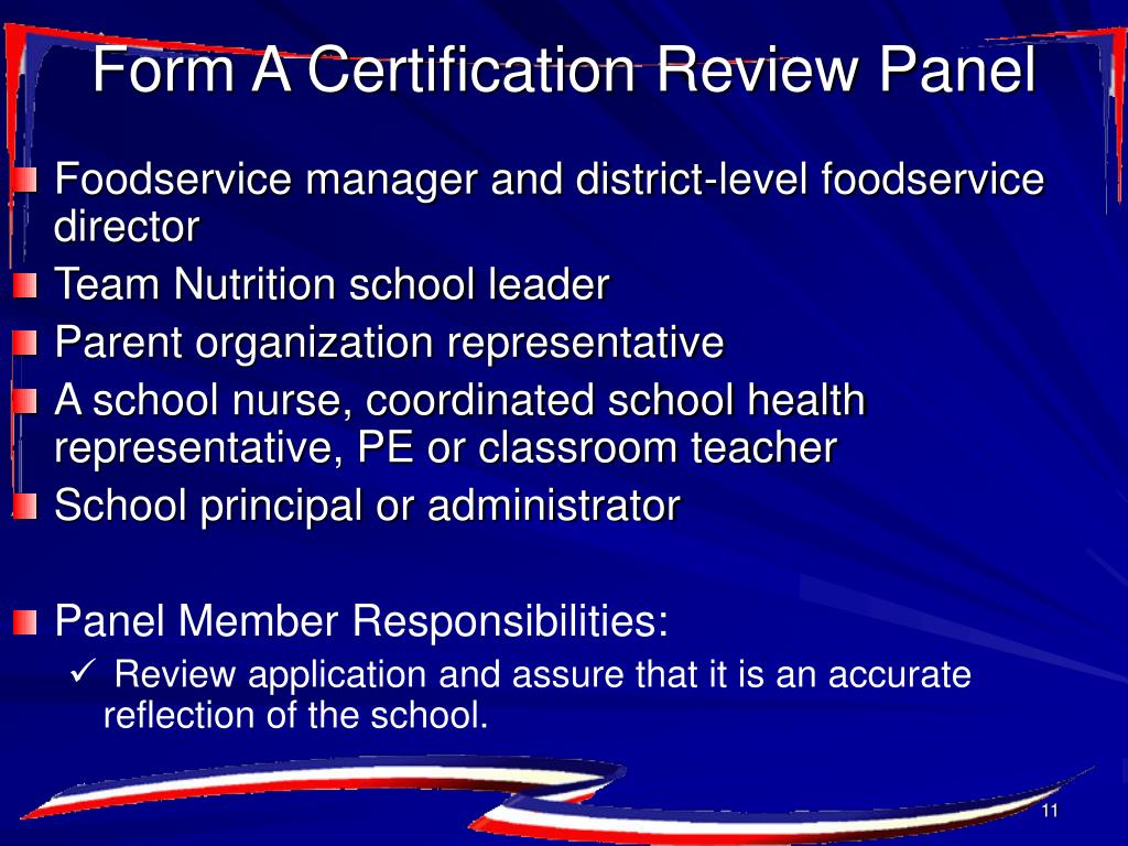Form A Certification Review Panel